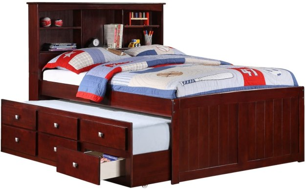 Full Mission Captains Cappucino Bookcase Trundle Bed