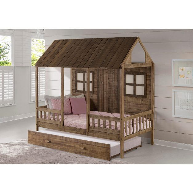 rustic driftwood kids bunk bed