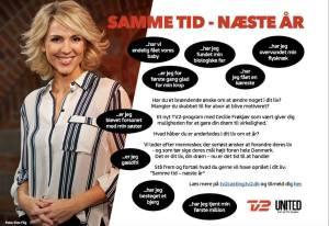 Til et nyt og spændende TV2 Program med Cecilie Frøkjær som vært, søger vi kommende solomødre. Programmet hedder 'Samme tid - Næste år' og det handler om at have et mål, en drøm eller et ønske, man gerne vil opnå i løbet af det næste år.