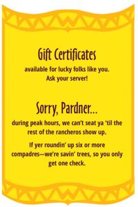 So Long Saloon menu | Gift Certificates & Seating