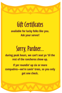 So Long Saloon menu | Gift Certificates & Seating