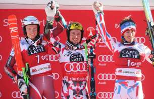 ALTA BADIA,ITALY,20.DEC.15 - ALPINE SKIING - FIS World Cup, giant slalom, men. Image shows Henrik Kristoffersen (NOR), Marcel Hirscher (AUT) and Victor Muffat-Jeandet (FRA). Photo: GEPA pictures/ Mario Kneisl