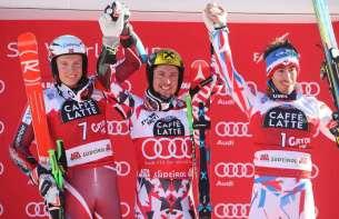 ALTA BADIA,ITALY,20.DEC.15 - ALPINE SKIING - FIS World Cup, giant slalom, men. Image shows Henrik Kristoffersen (NOR), Marcel Hirscher (AUT) and Victor Muffat-Jeandet (FRA). Photo: GEPA pictures/ Mario Kneisl