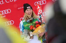 CRANS-MONTANA,SWITZERLAND,15.FEB.16 - ALPINE SKIING - FIS World Cup, slalom, ladies, award ceremony. Image shows Mikaela Shiffrin (USA). Photo: GEPA pictures/ Christian Walgram
