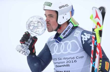 SANKT MORITZ,SWITZERLAND,16.MAR.16 - ALPINE SKIING - FIS World Cup Final, downhill, men, award ceremony for the downhill World Cup. Image shows Peter Fill (ITA). Keywords: crystal globe. Photo: GEPA pictures/ Harald Steiner