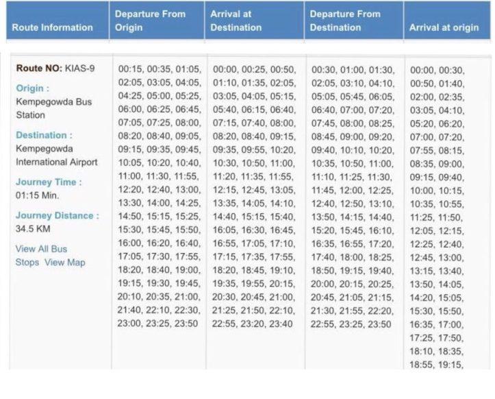 Bangalore buses timetable