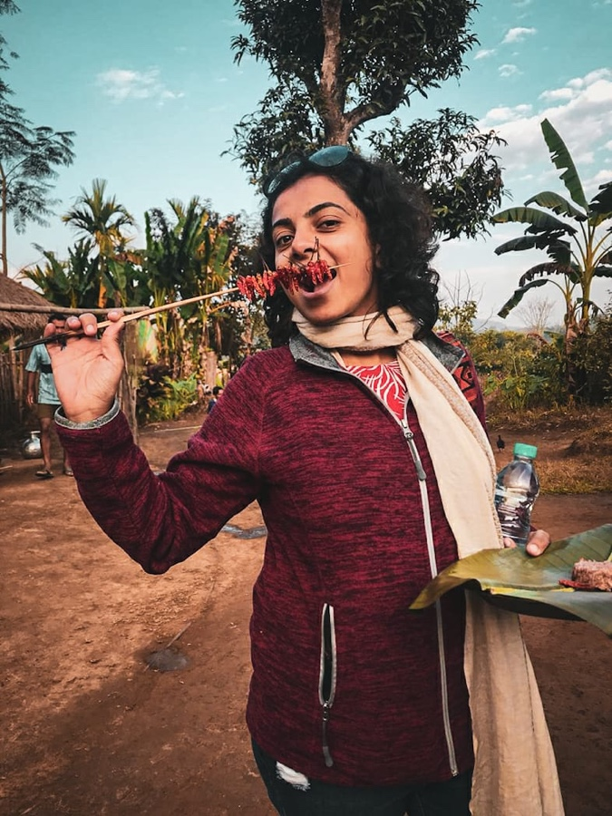 Enjoying the local delicacies of Tiwa Tribe