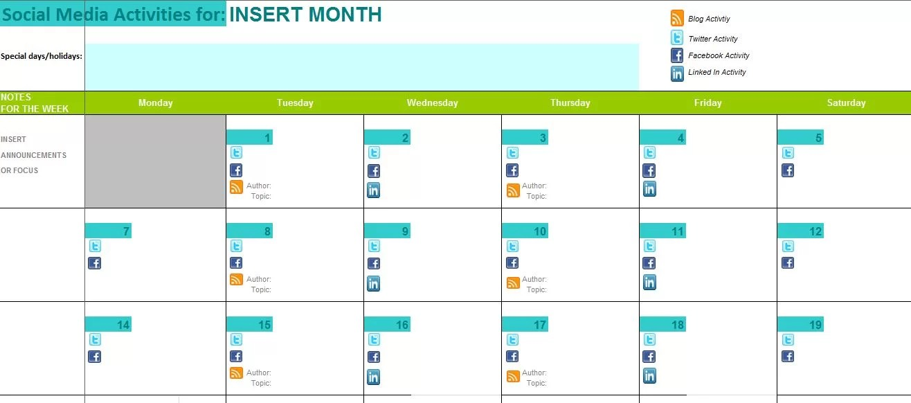 of events template. weekly calendar 2015 for excel 12 free printable ...