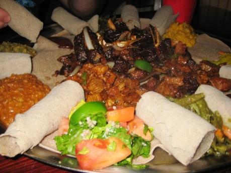 Sampler Platter Server Created for Us at Queen of Sheba Ethiopian Restaurant, Oct. 30, 2010