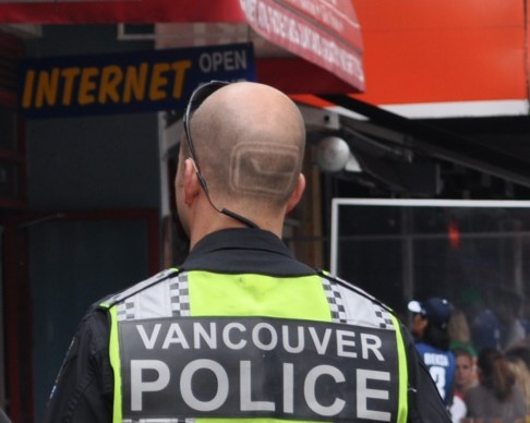Vancouver Police Officer with Canucks' Logo