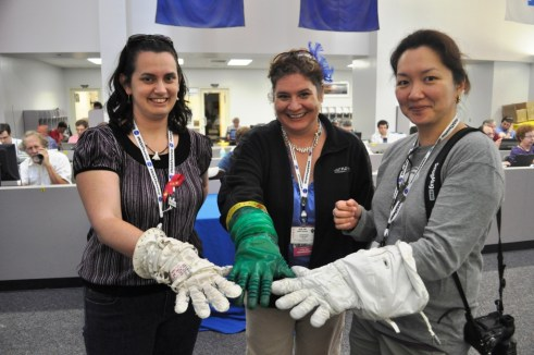 Jillian, Me and Linda Trying On Layers of Space Walk Gloves, Kennedy Space Center, May 16, 2011
