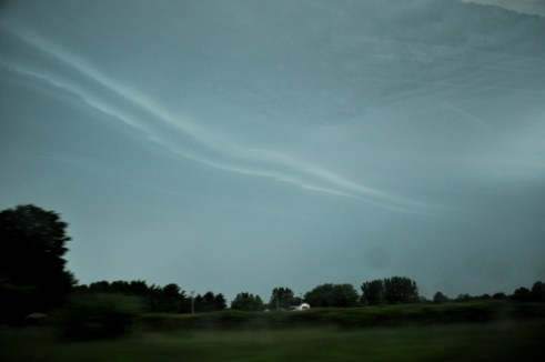 Storm Seen While Driving N.Y. State Thruway I-90 South Near Dunkirk