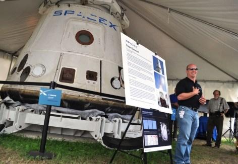 Former NASA Astronaut Now SpaceX Engineer Garrett Reisman with Dragon Capsule, July 8, 2011