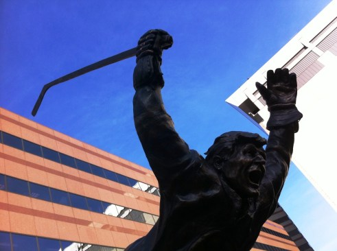 Statue Honoring Bobby Orr's Famous Stanley Cup Winning Goal on May 10, 1970, TD Garden, Boston