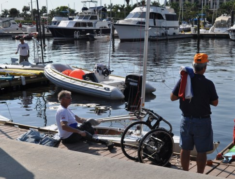 Andre Rademaker of the Dutch 2.4 Sailboat Racing Team Getting Into His Boat, Jan. 7, 2012