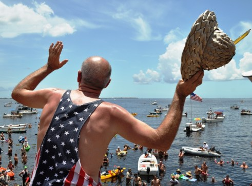 Freedom Swim Co-Founder Michael P. Haymans Shouts Out Instructions Prior to the Swim, July 4, 2012