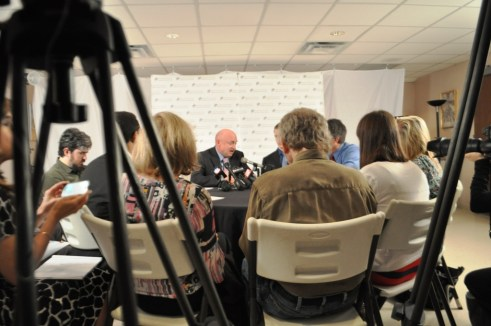 Retired NASA Astronaut Mark Kelly Fields Questions from Media during a Press Conference in Sarasota, Fla., March 11, 2013