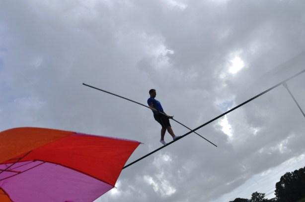 A little rain didn't stop Nik Wallenda during his last public Sarasota training for his June 23 Grand Canyon Walk, June 19, 2013