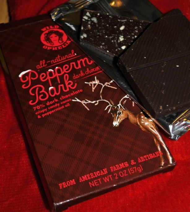 Yum! Wild Ophelia's All-Natural Peppermint Bark Dark Chocolate Bar.