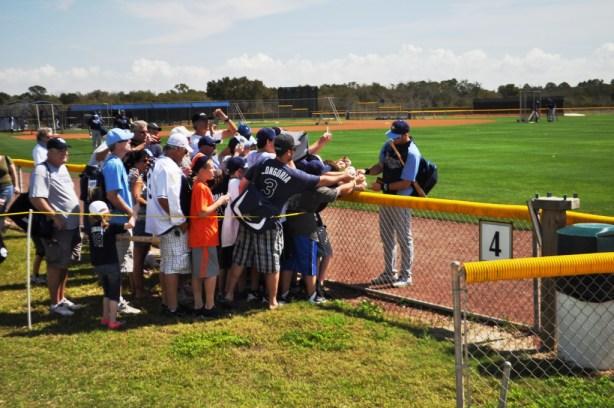 Tampa Bay Rays Fans Seek Autographs from Evan Longoria, Spring Training, Port Charlotte, Fla., Feb. 23, 2014