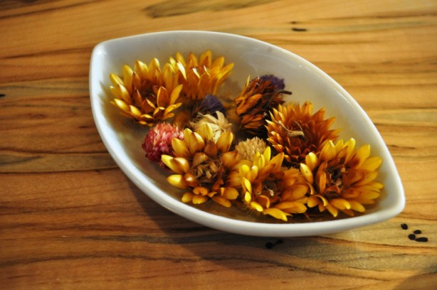 Colorful Straw Flowers on a Table at Local Roots Restaurant in Roanoke, Virginia, April 2014