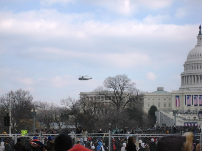 President George W. Bush and Laura Bush's Helicopter Leaving the White House, Jan. 20, 2009