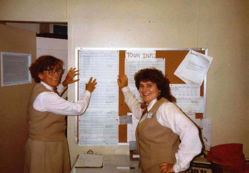 That's me on the right and my roommate Madge on the left in our fashionable, brown, wrinkle-monster polyestor uniforms as group tour clerks at Canyon Lodge in Yellowstone National Park. We were stylin, right? Summer 1991