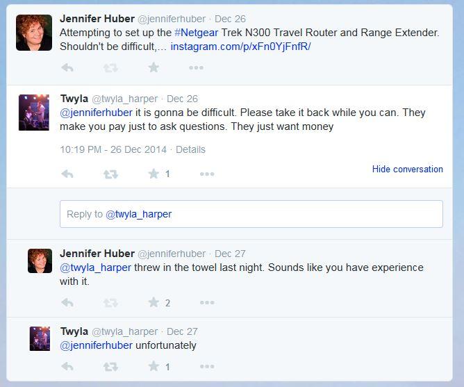 Twitter Conversation About My NETGEAR Trek N300 Travel Router and Range Extender