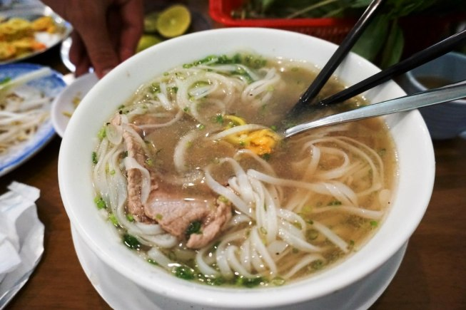 Eating Beef Pho During Pho Trail Tour with Saigon Street Eats, Ho Chi Minh City, Vietnam, April 2016