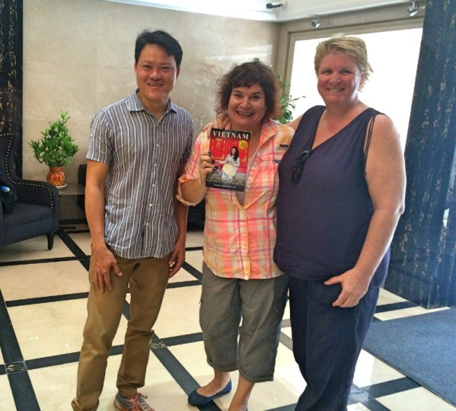 Vu Vo, Me, and Barbara Adam with Vu and Barbara's Travel Guide: Vietnam: 100 Unusual Travel Tips and a Guide to Living and Working There, Empress Hotel, Ho Chi Minh City, April 2016