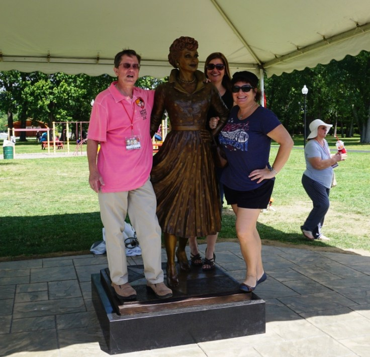 "Joe Mayer, One of the Actors Who Played Little Ricky in ""I Love Lucy"", Poses with the New Lucille Ball State, My Buffalo BFF and Me, Lucille Ball Memorial Park, Celoron, N.Y., Aug. 6, 2016"