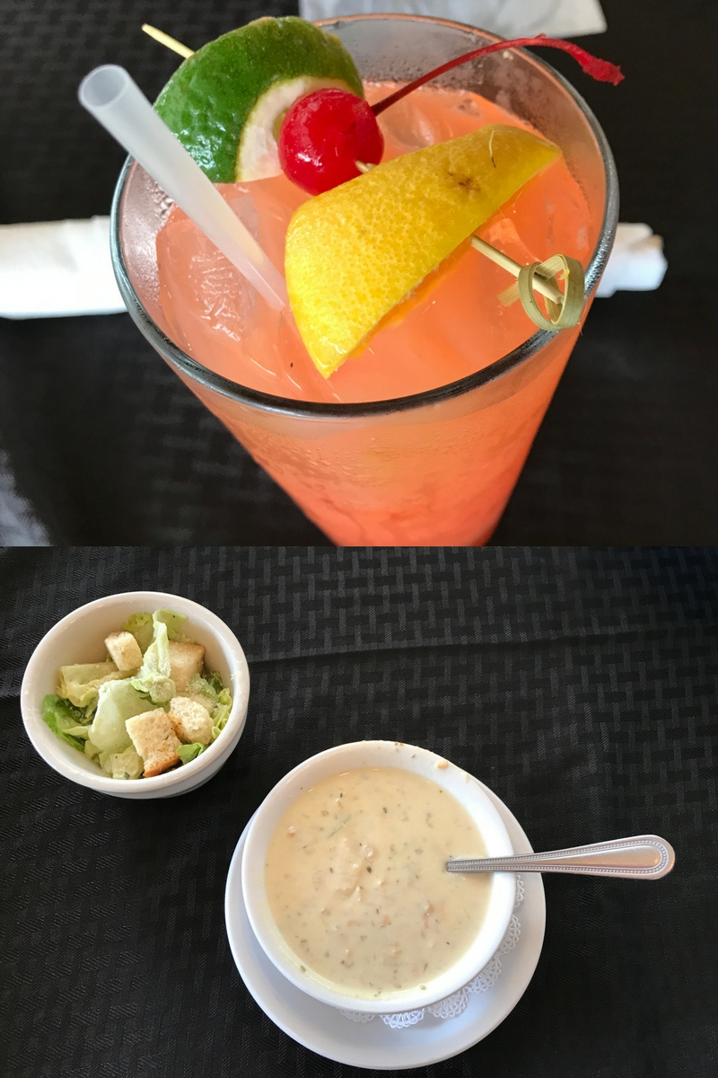 Leverock's Seafood House - Hurricane, Caesar Salad and Clam Chowder.
