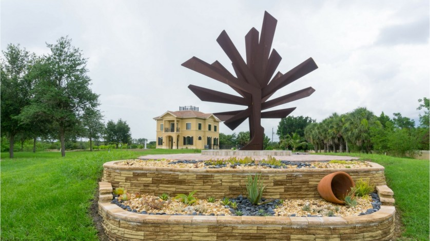 """Steel Palm"" is Signature Sculpture of the Peace River Botanical & Sculpture Gardens in Punta Gorda, Fla."