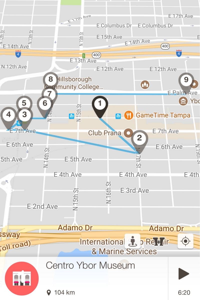 Screenshot of a Map of Tampa's Ybor City in the Free Florida Stories Walking Tour App
