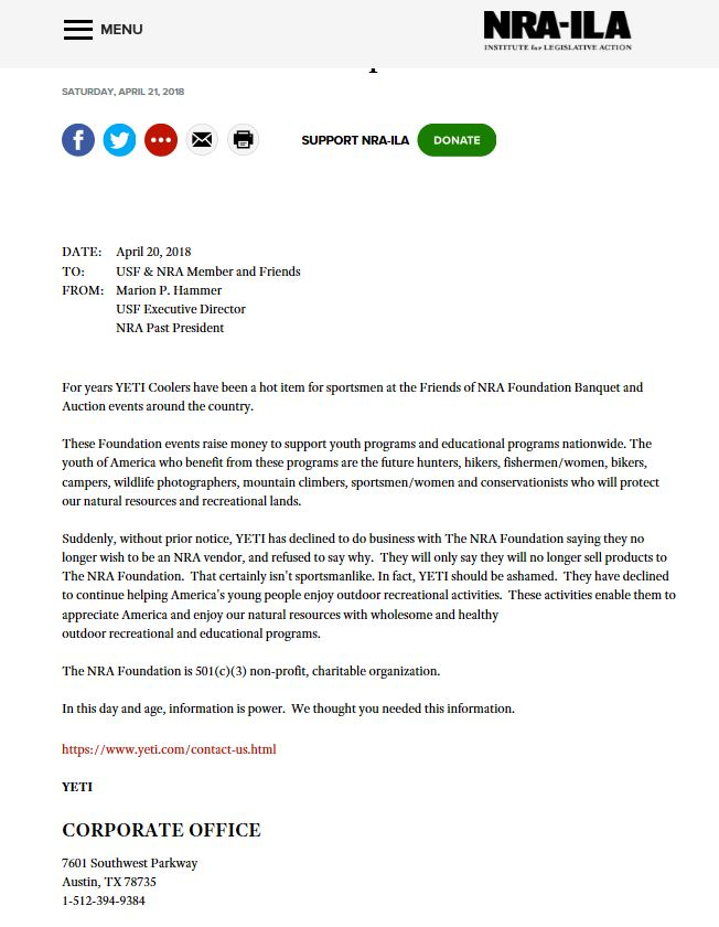 Statement from NRA-ILA Regarding its Relationship with YETI.