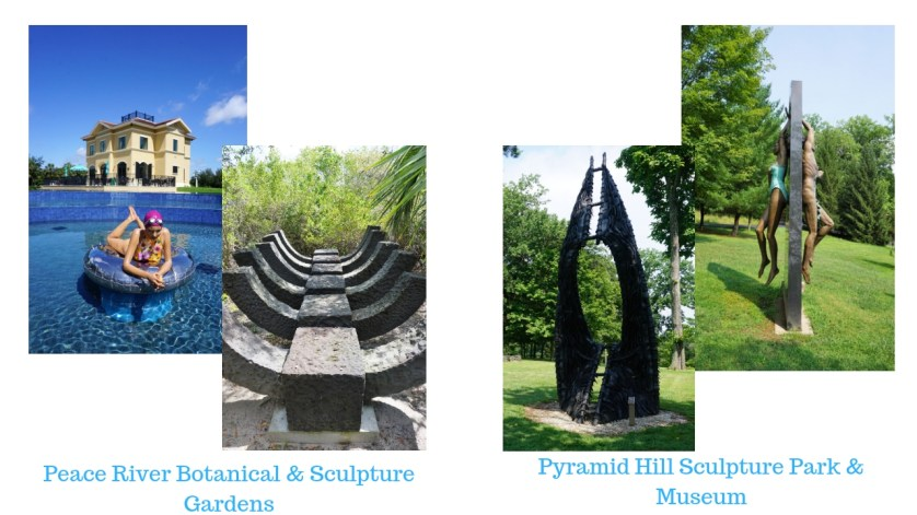 Sculptures from the Peace River Botanical & Sculpture Gardens in Punta Gorda, Fla. and Sculptures from Pyramid Hill Sculpture Park & Museum in Hamilton, Ohio. August 2018