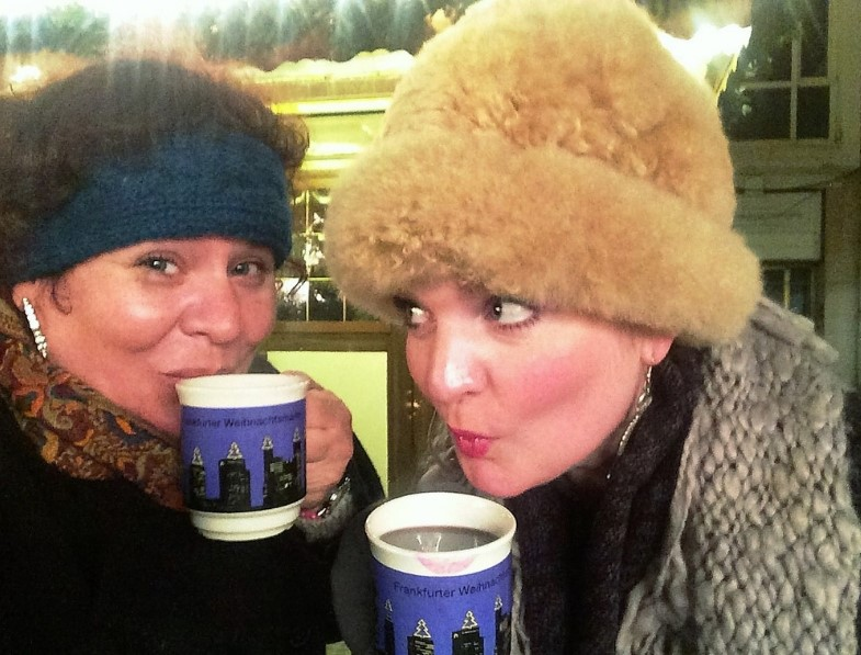 Me with My Sister Sipping Glühwein at the Frankfurt Christmas Market, Germany, Dec. 2015.