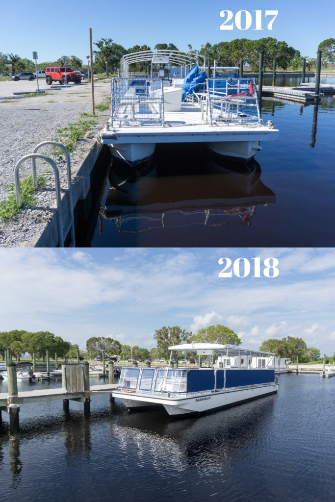 Top: A Damaged Tour Boat Sitting in the Backcountry Side of the Flamingo Marina, Damaged in Sept. 2017's Hurricane Irma. Nov. 2017.  Bottom: The New Bald Eagle II Sits at the Backcountry Side of the Flamingo Marina (the First Bald Eagle was on the Florida Bay Side) Nov. 2018