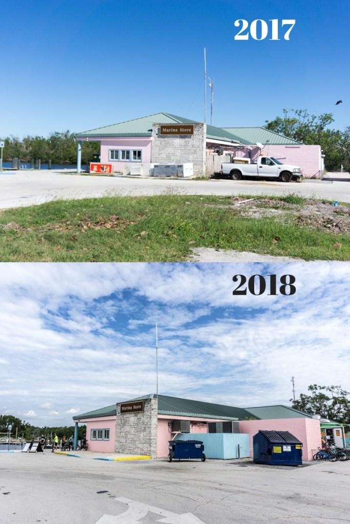 Top: Flamingo Marina Store in Nov. 2017, Two Months Following Hurricane Irma.  Bottom: Flamingo Marina Store in Nov. 2018.