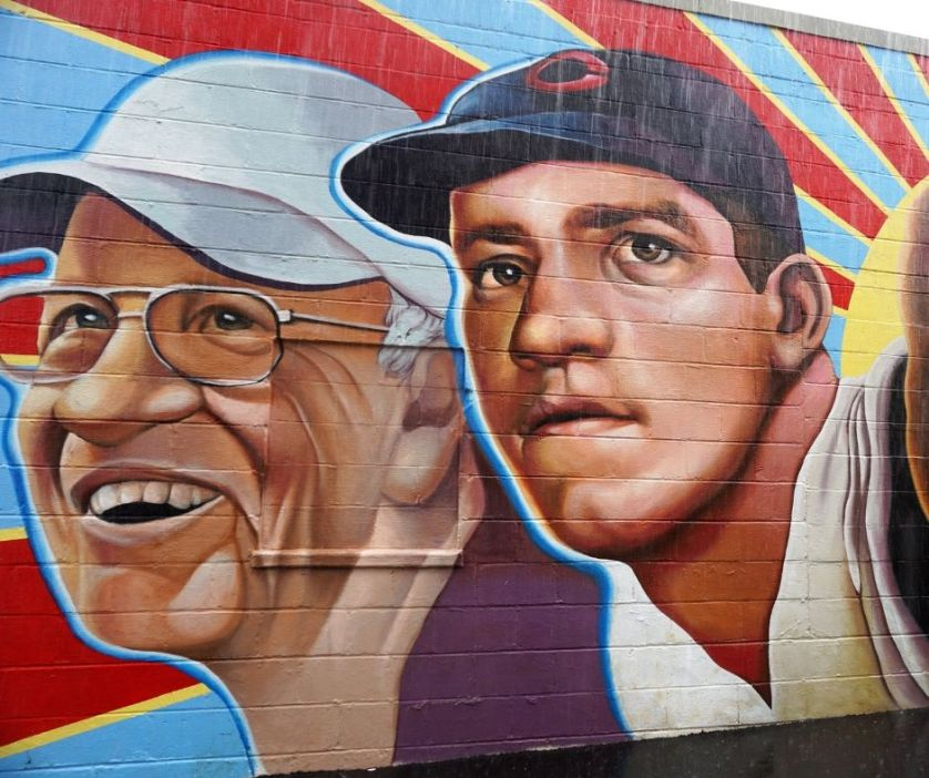 """""""Left Hander for Life"""" Mural Shows Legendary Hamilton Native Joe Nuxhall as a Young Cincinnati Reds Pitcher and Later in Life. Painted in 2017 by Paul Loehle as the Lead Artist"""