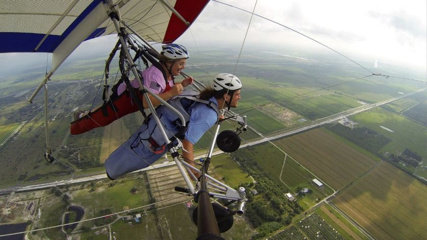 That's Me in the Cocoon Harness, Letting Go and Trying to Fly, with Florida Ridge Air Sports Park.