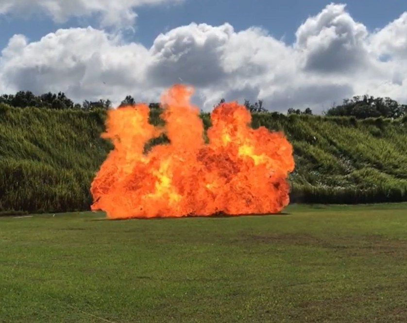 This is a Hollywood Explosion, meaning, it's not what a typical detonation looks like. It's called Hollywood because it's what you typically see in TV shows and movies.