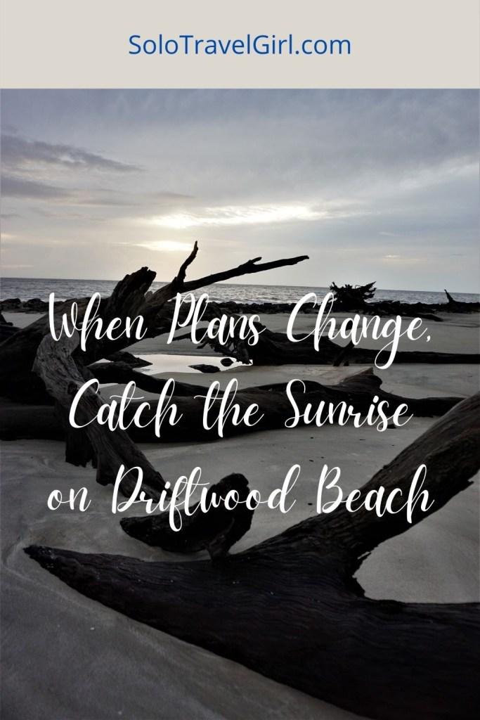 Pin It! Sunrise on Driftwood Beach on Jekyll Island, Ga.