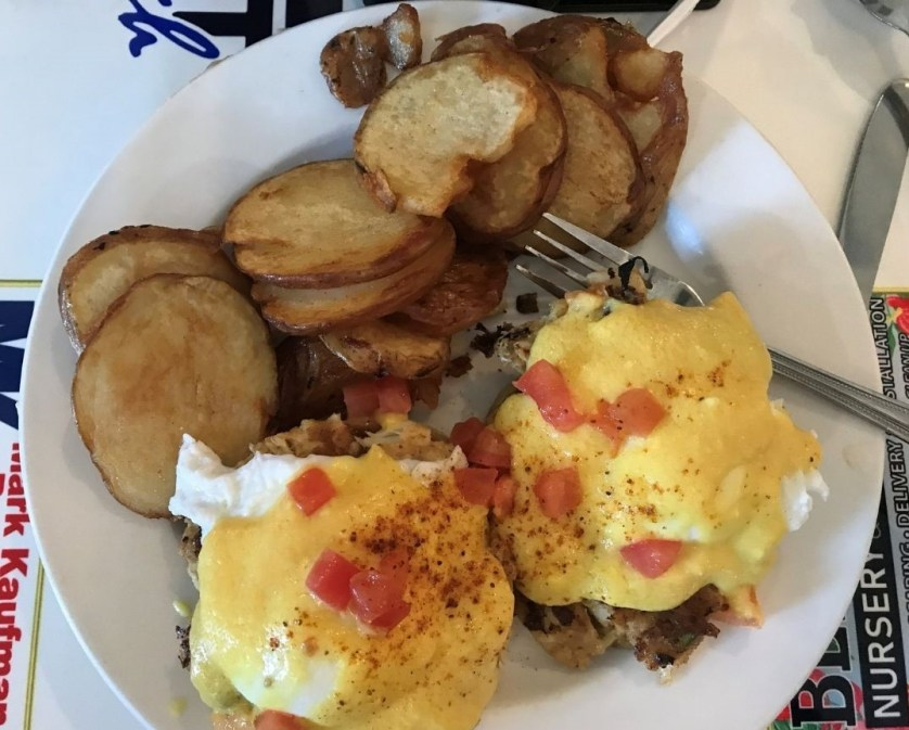 Crab Cake Eggs Benedicts at John Ski's House of Breakfast & Lunch in Punta Gorda, Fla., Feb. 2020