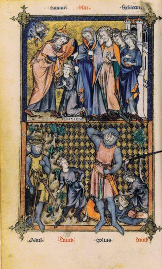 Page du Bréviaire de Philippe le Bel - David contre Goliath