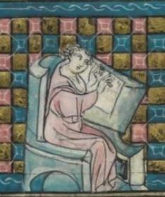 L'auteur à son pupitre d'écriture folio 29v
