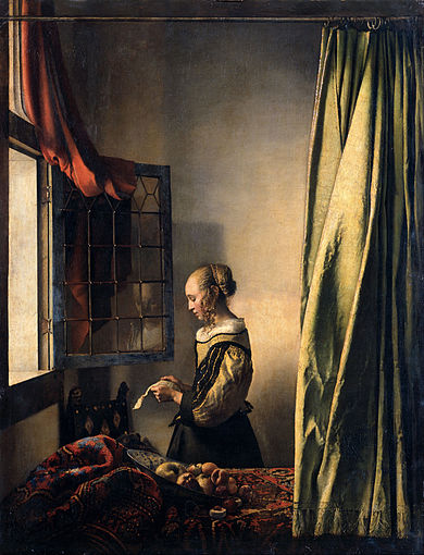 Tableau de Vermeer : La liseuse à la fenêtre de 1657