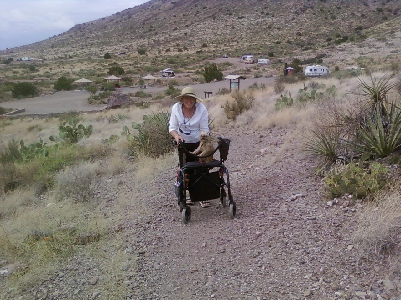 Ginger and Sienna on the trail.  Not to bad for 2 feet + 4 wheels + 4 little feet