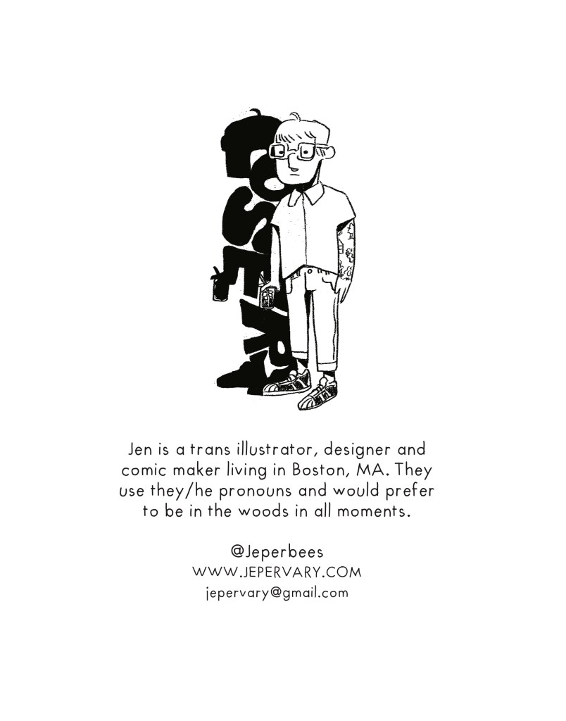 Jen Epervary (they/he) is a Boston, Massachusetts based illustrator, photo editor and merchandise designer who lives with three wild cats.
