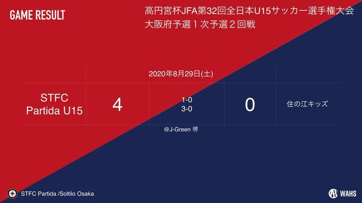 【U-15】高円宮杯JFA第32回全日本U-15サッカー選手権大会大阪府予選プレーオフ2020 結果